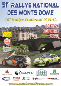 affiche Rallye National des Monts Dôme 2020